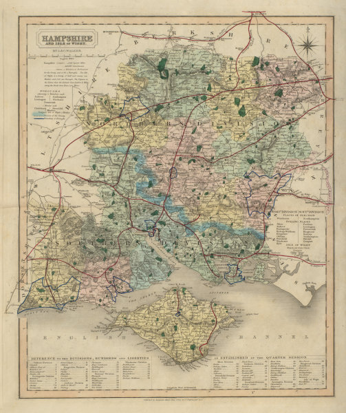 Associate Product Hampshire antique county map by J & C Walker. Railways & boroughs 1868 old