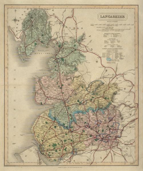 Associate Product Lancashire antique county map by J & C Walker. Railways & boroughs 1868