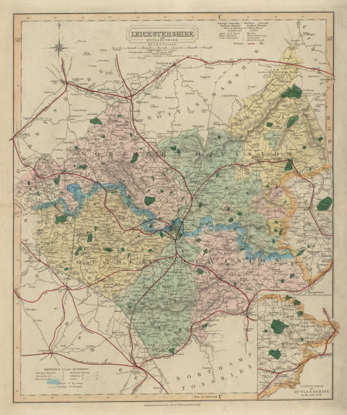 Associate Product Leicestershire antique county map by J & C Walker. Railways & boroughs 1868