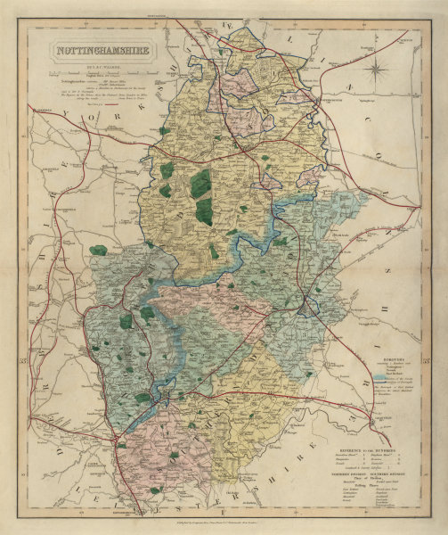Associate Product Nottinghamshire antique county map by J & C Walker. Railways & boroughs 1868