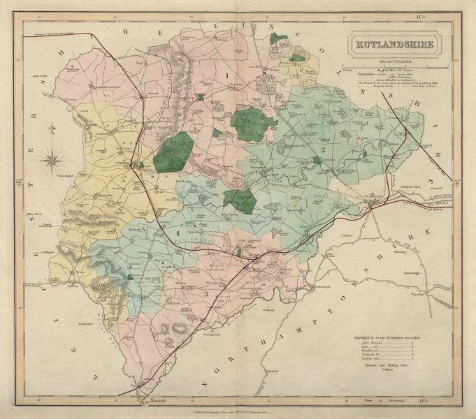 Associate Product Rutlandshire antique county map by J & C Walker. Railways & boroughs 1868