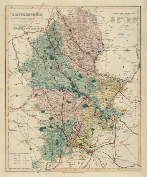 Associate Product Staffordshire antique county map by J & C Walker. Railways & boroughs 1868