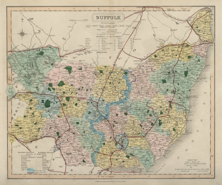 Associate Product Suffolk antique county map by J & C Walker. Railways & boroughs 1868 old
