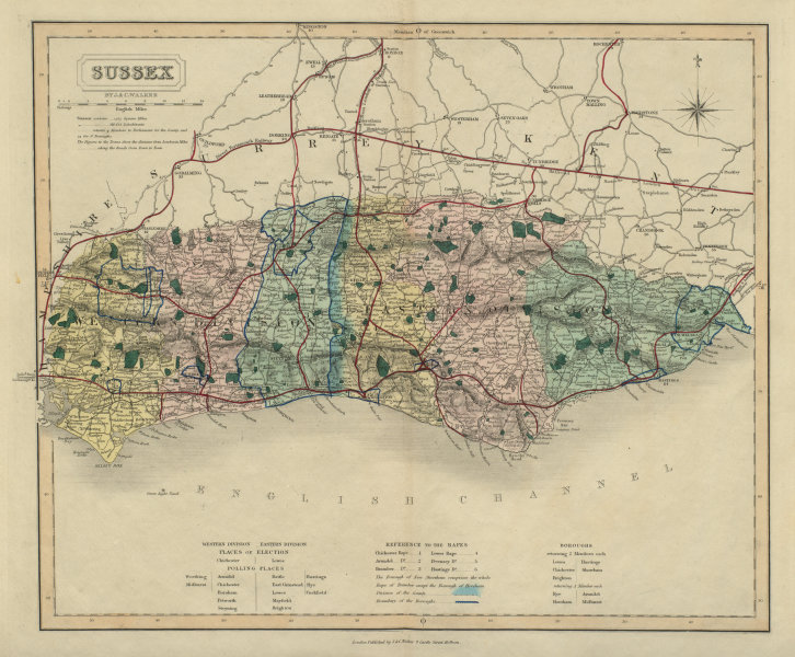 Associate Product Sussex antique county map by J & C Walker. Railways & boroughs 1868 old