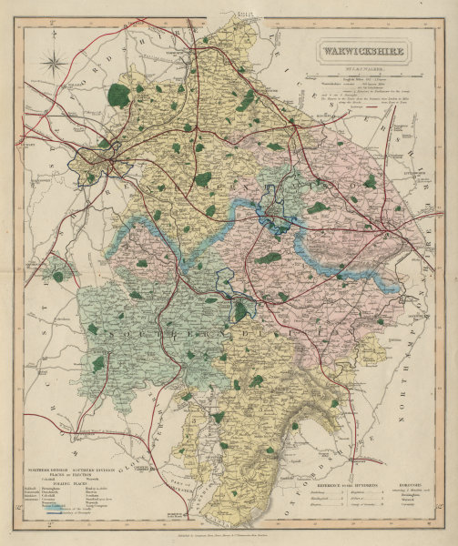 Associate Product Warwickshire antique county map by J & C Walker. Railways & boroughs 1868