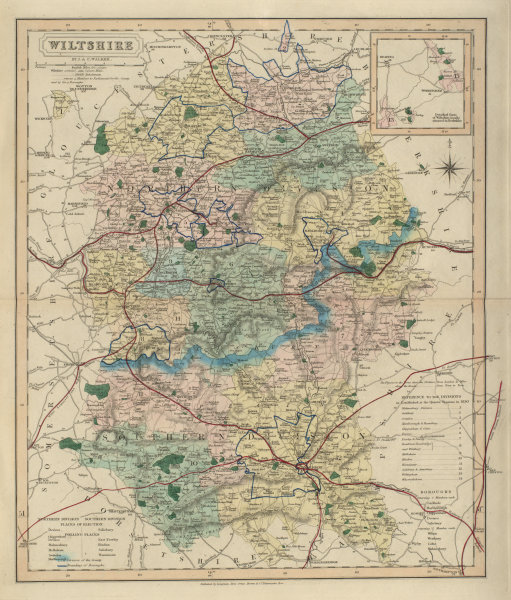 Associate Product Wiltshire antique county map by J & C Walker. Railways & boroughs 1868 old