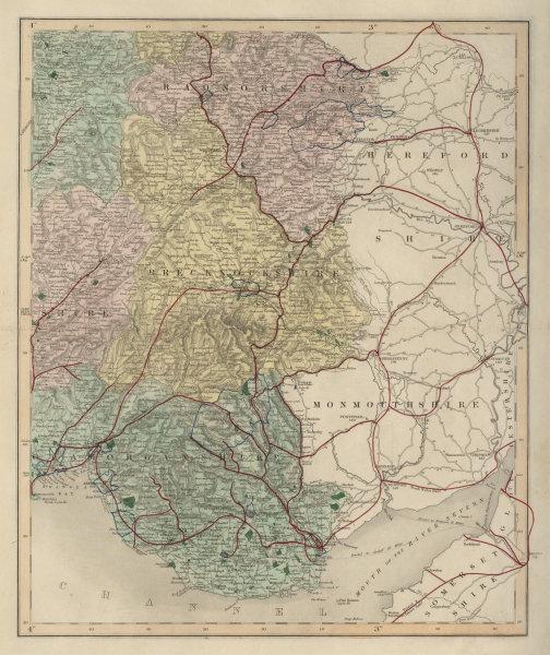 Associate Product Radnorshire Brecknockshire Glamorganshire antique map. WALKER. Railways 1868