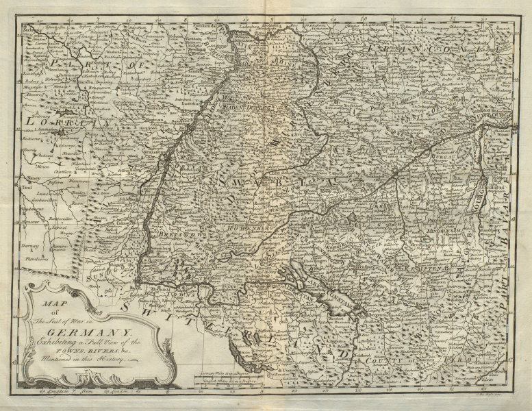 Associate Product Map of the seat of war in Germany exhibiting a full view… DU BOSC 1736 old