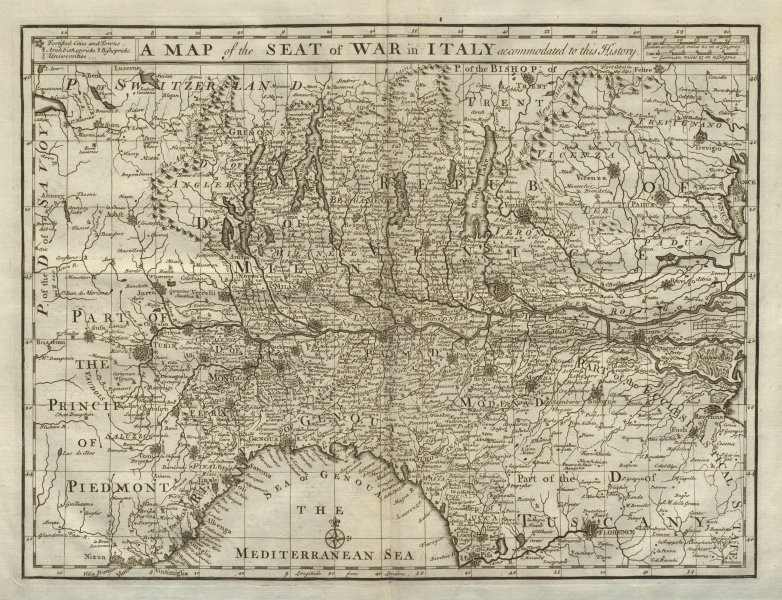 Associate Product A map of the seat of war in Italy accommodated to this History. DU BOSC 1736