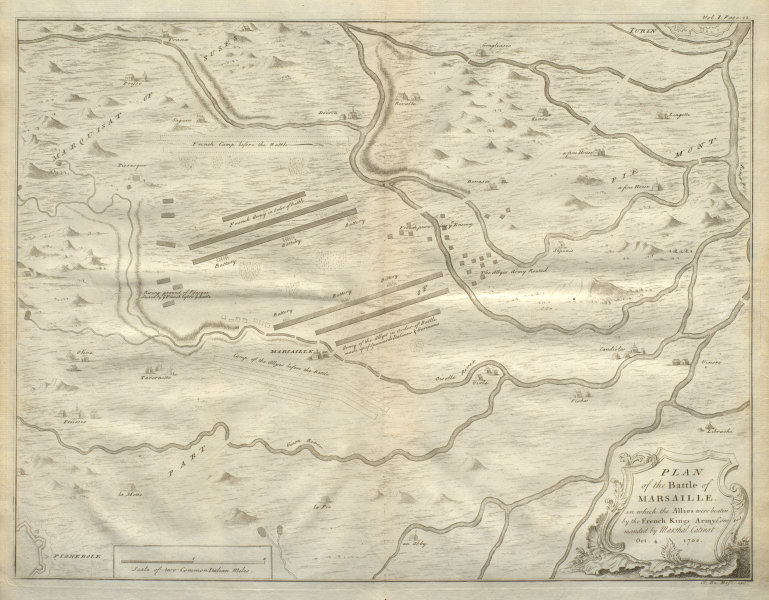 Associate Product Plan of the Battle of Marsaille. Catinat. 1702. Macello, Turin. DU BOSC 1736 map