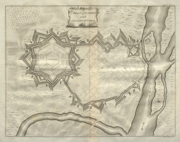 Associate Product The Town & Citadel of Cazel. Casale Monferrato, Piedmont. DU BOSC 1736 old map