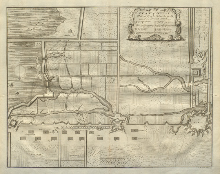 Associate Product Plan of Hulst with its forts, outworks &c. in 1702 Netherlands. DU BOSC 1736 map