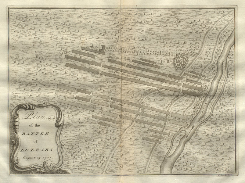 Associate Product Plan of the Battle of Luzzara August 15, 1702. Reggio Emilia. DU BOSC 1736 map