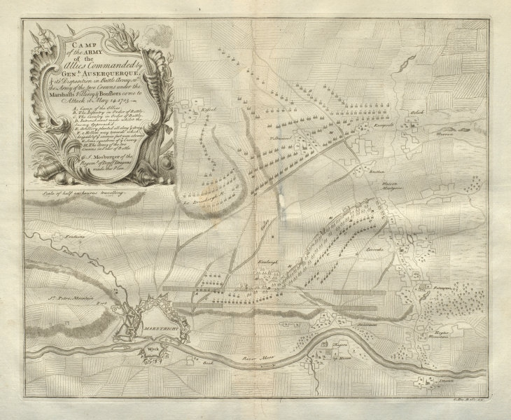 Associate Product Allied camp May 14, 1703. Maastricht, Netherlands. DU BOSC 1736 old map