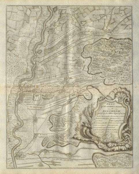 Associate Product Plan of the glorious Battle of Blenheim, 1704. Höchstädt. DU BOSC 1736 old map