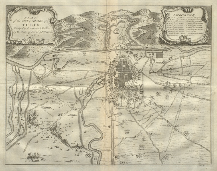 Associate Product Plan of the city & citadel of Turin. 1706 Siege. Italy. DU BOSC 1736 old map