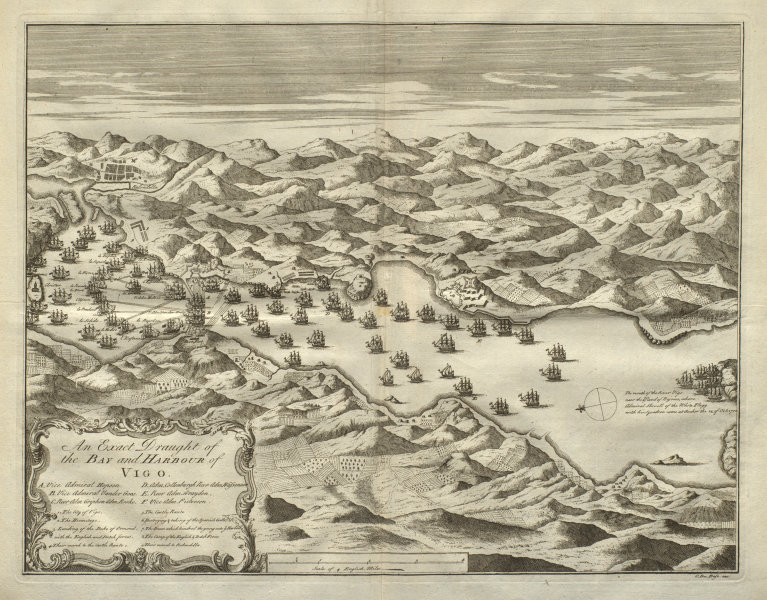 Associate Product An exact draught of the Bay and Harbour of Vigo. 1702 Battle. DU BOSC 1736 map