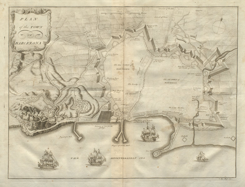Associate Product Plan of the Town of Barcelona. Spain. DU BOSC 1736 old antique map chart