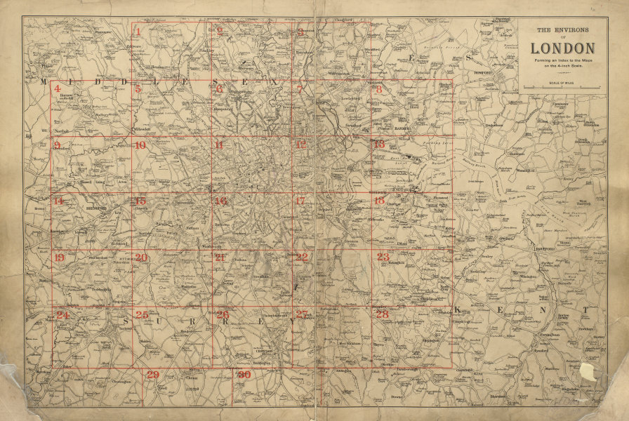 Associate Product GREATER LONDON ENVIRONS General Index map for detailed maps BACON 1900 old