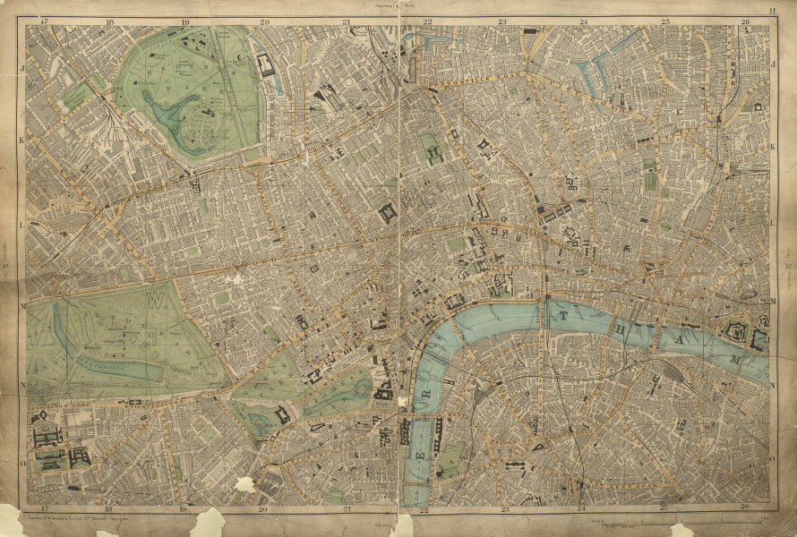 Associate Product CENTRAL LONDON West End City Westminster Southwark Shoreditch BACON 1900 map