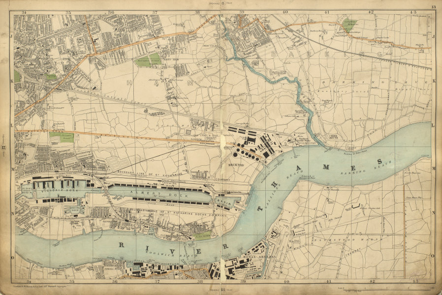 Associate Product WEST/EAST HAM & BARKING Plaistow Woolwich Beckton Thamesmead BACON 1900 map