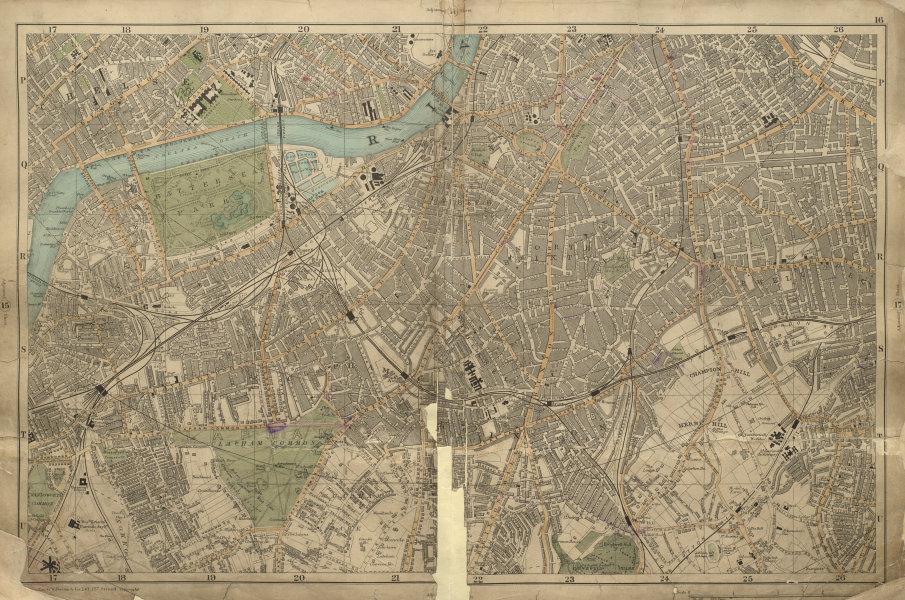 Associate Product S LONDON Brixton Clapham Lambeth Battersea Chelsea Camberwell BACON 1900 map