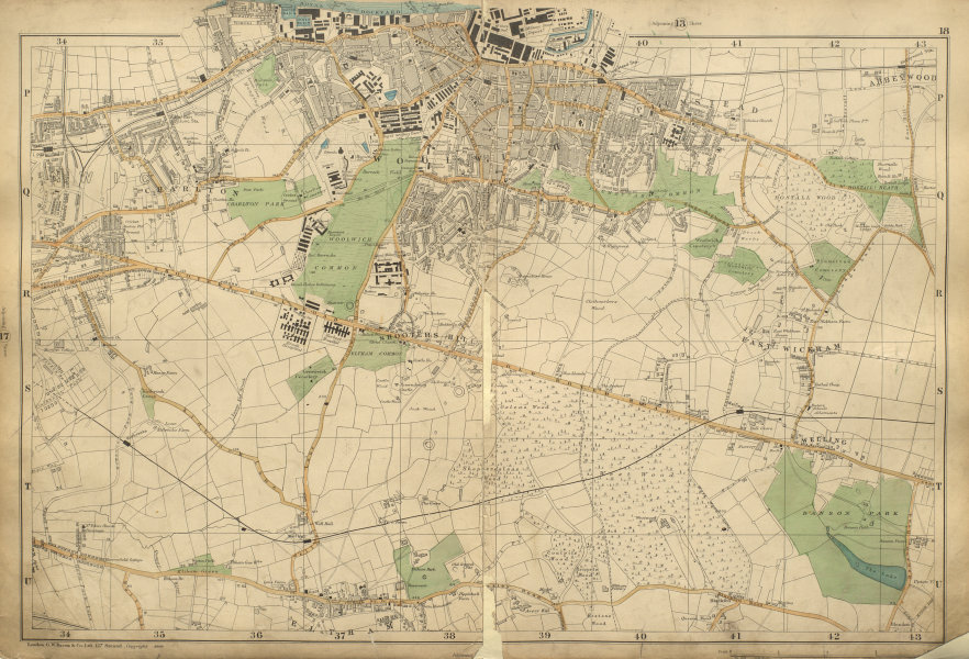 Associate Product WOOLWICH Charlton Bexley Eltham Plumstead Shooters Hill Greenwich BACON 1900 map