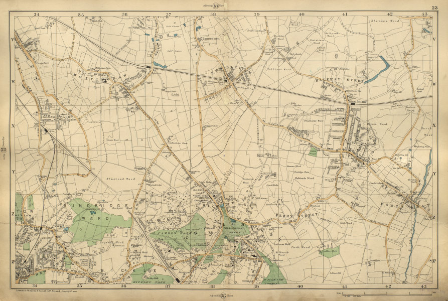 Associate Product CHISLEHURST Eltham Mottingham Bromley Sidcup Catford Foots Cray BACON 1900 map
