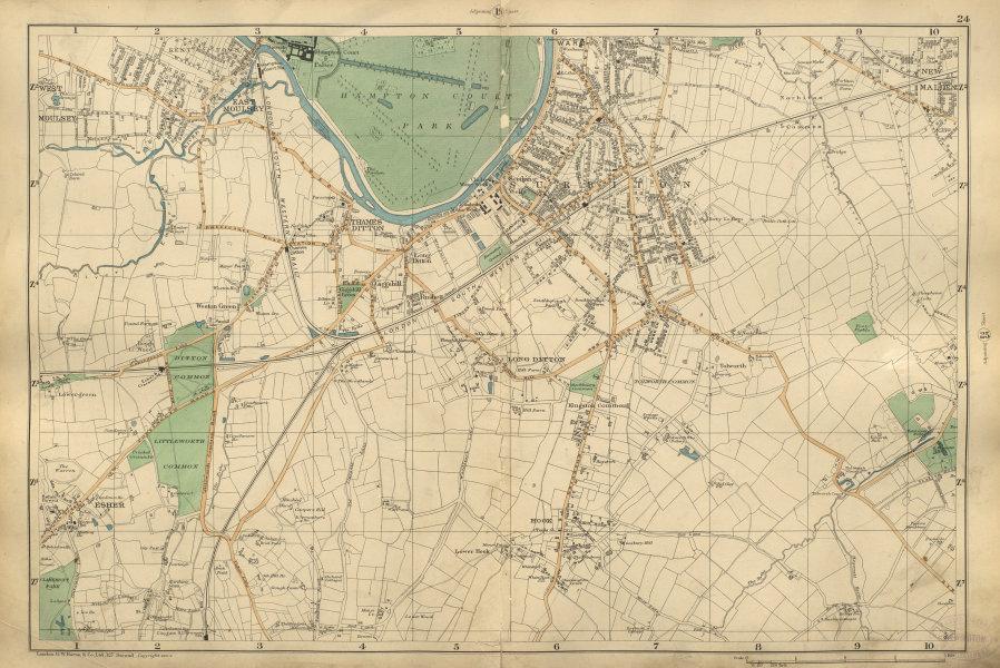 Associate Product SURBITON & ESHER Hampton Court East Molesey Hook Thames Ditton BACON 1900 map