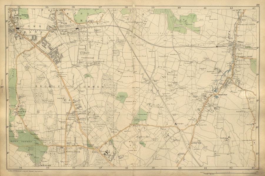 Associate Product BROMLEY & ORPINGTON Petts Wood Hayes Keston St Paul's Mary Cray BACON 1900 map