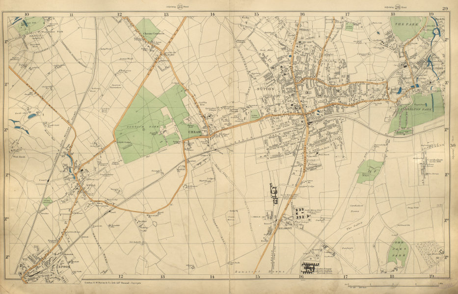 Associate Product SUTTON Epsom Cheam Belmont Carshalton Ewell Banstead Downs BACON 1900 old map