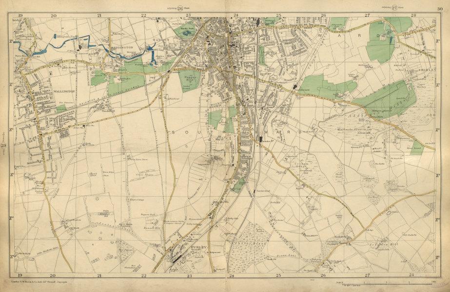 Associate Product SOUTH CROYDON Carshalton Wallington Beddington Waddon Purley BACON 1900 map