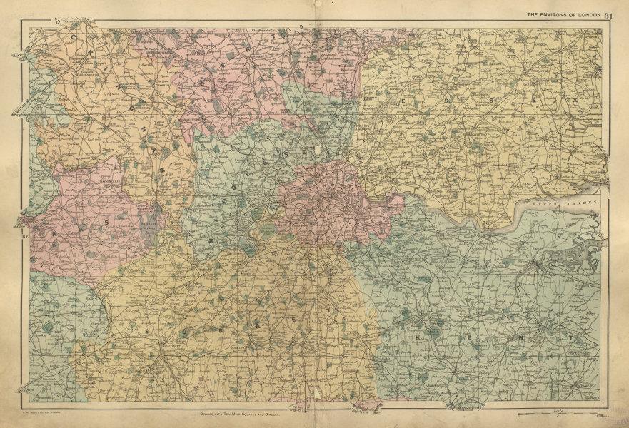 Associate Product LONDON & HOME COUNTIES Middx Kent Essex Surrey Berks Bucks Herts BACON 1900 map