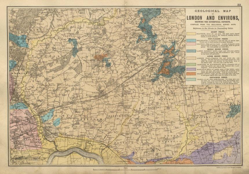 Associate Product NE LONDON GEOLOGICAL Essex Redbridge Newham Barking Dagenham BACON 1900 map