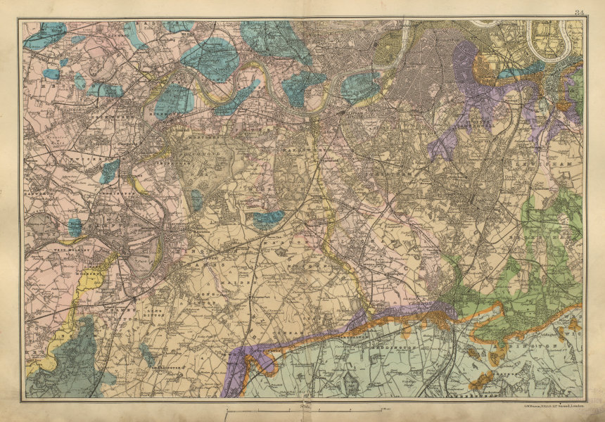 Associate Product SW LONDON GEOLOGICAL K&C Fulham Surrey Richmond Wandsworth BACON 1900 old map