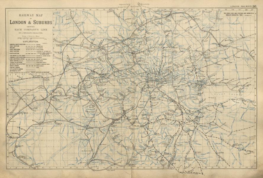 Associate Product LONDON RAILWAYS showing companies & termini Tube Underground BACON 1900 map