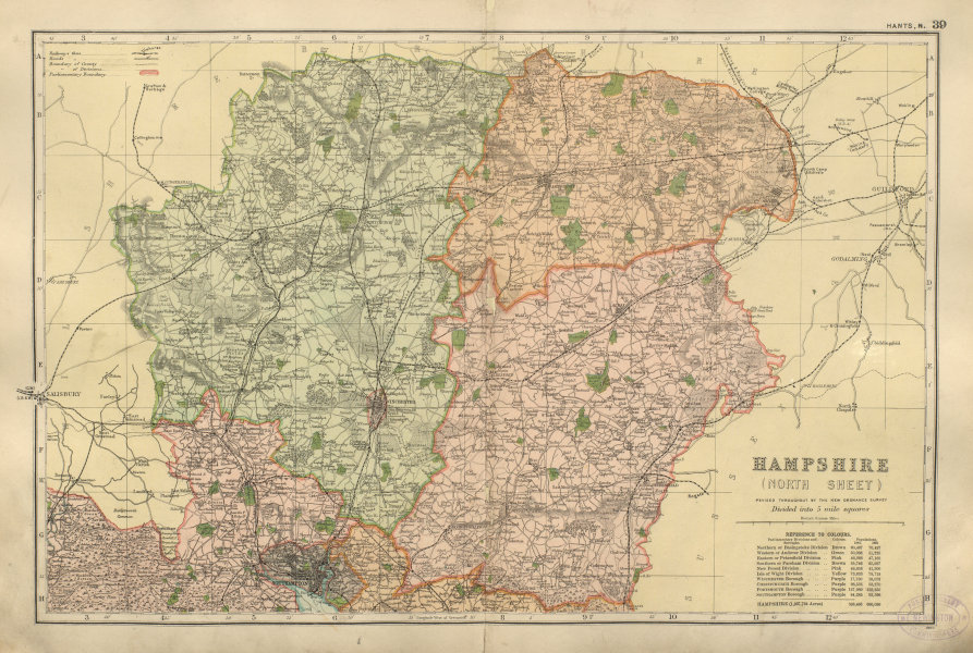 Associate Product HAMPSHIRE NORTH Parliamentary constituencies railways divisions BACON 1900 map