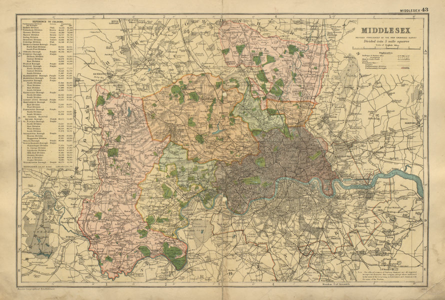 MIDDLESEX County map inc LONDON Parliamentary constituencies BACON 1900