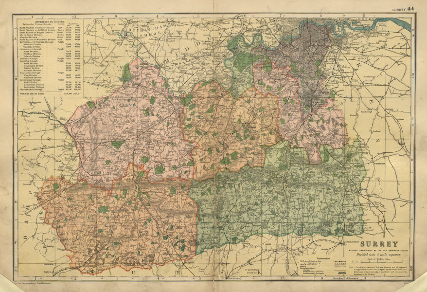 Associate Product SURREY County map Parliamentary constituencies railways divisions BACON 1900