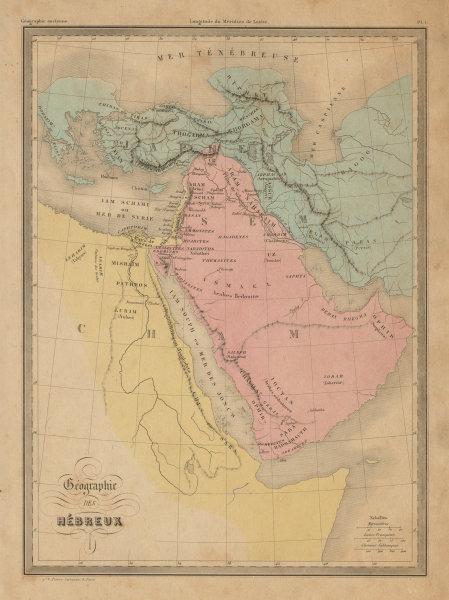 Associate Product Géographie des Hébreux. World of the Israelites. Arabia. MALTE-BRUN c1871 map