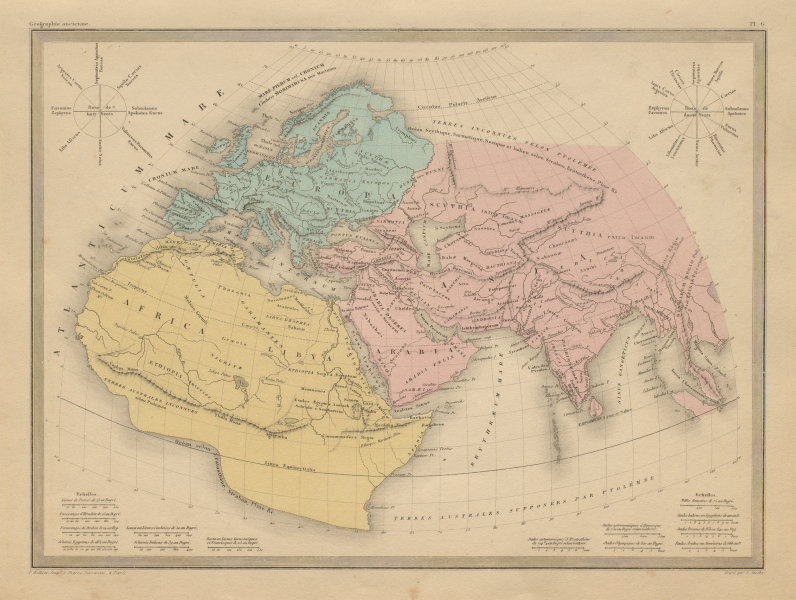 Associate Product Géographie Ancienne. World as known to the Ancients. MALTE-BRUN c1871 old map