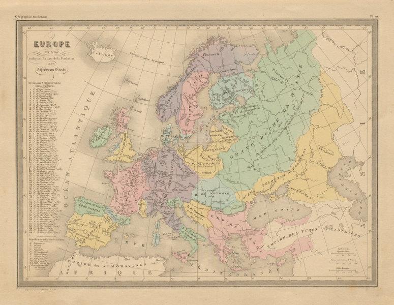 Associate Product Europe en 1100. Europe in 1100. MALTE-BRUN c1871 old antique map plan chart