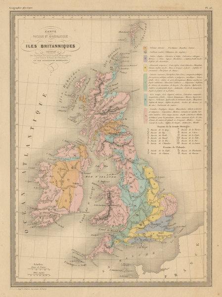 Associate Product Iles Britanniques Physique & Minéralogique. British Isles. MALTE-BRUN c1871 map