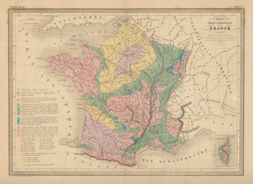 Associate Product France Physique & Minéralogique. Physical geological. MALTE-BRUN c1871 old map