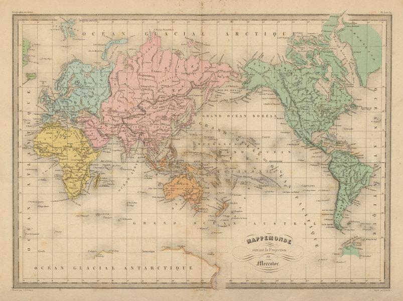 Associate Product Mappemonde suivant la Projection de Mercator. World. MALTE-BRUN c1871 old