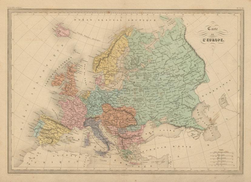 Associate Product Carte de L'Europe. Map of Europe. MALTE-BRUN c1871 old antique plan chart