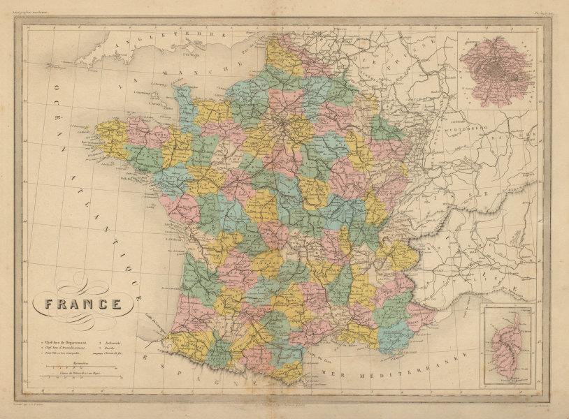 Associate Product France in departements. MALTE-BRUN c1871 old antique vintage map plan chart