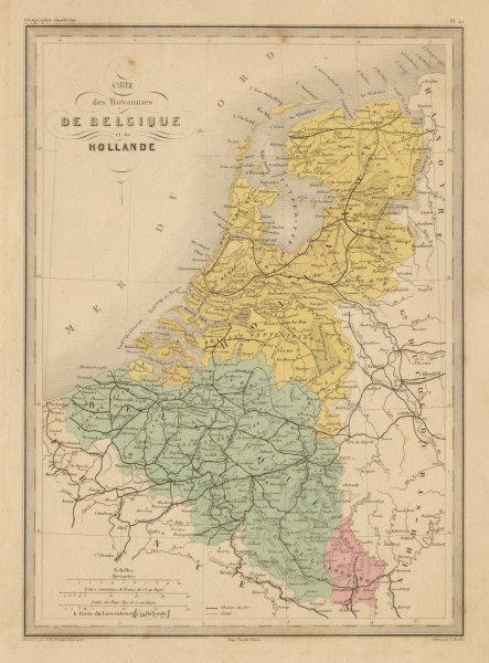 Associate Product Belgique et de Hollande. Belgium & Netherlands. Benelux. MALTE-BRUN c1871 map