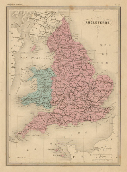 Associate Product Angleterre. England & Wales. Railways. MALTE-BRUN c1871 old antique map chart