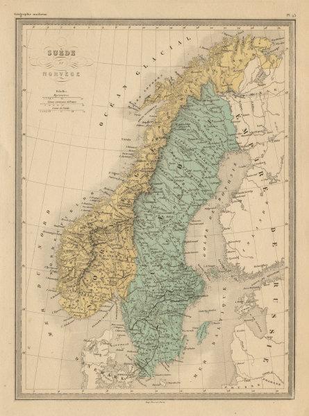 Associate Product Suède et Norvège. Sweden and Norway. Scandinavia. MALTE-BRUN c1871 old map
